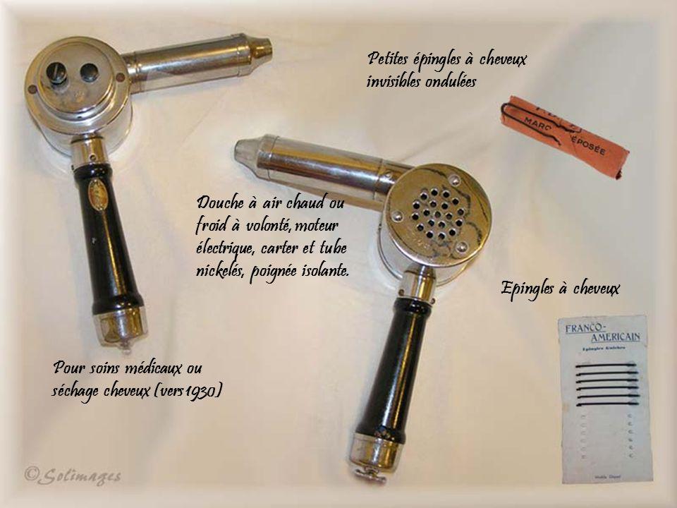 Douche à air chaud ou froid à volonté, moteur électrique, carter et tube nickelés, poignée isolante.