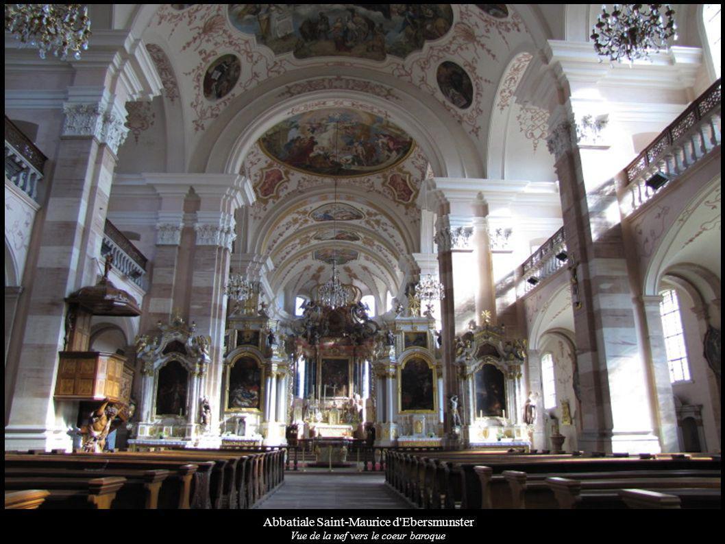 Abbatiale Saint-Maurice d'Ebersmunster Vue de la nef vers le coeur baroque