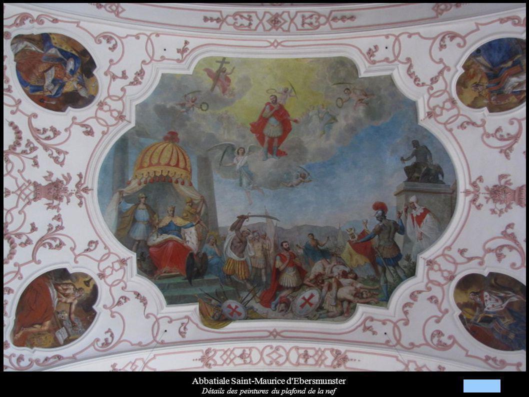 Abbatiale Saint-Maurice d Ebersmunster Détails des peintures du plafond de la nef