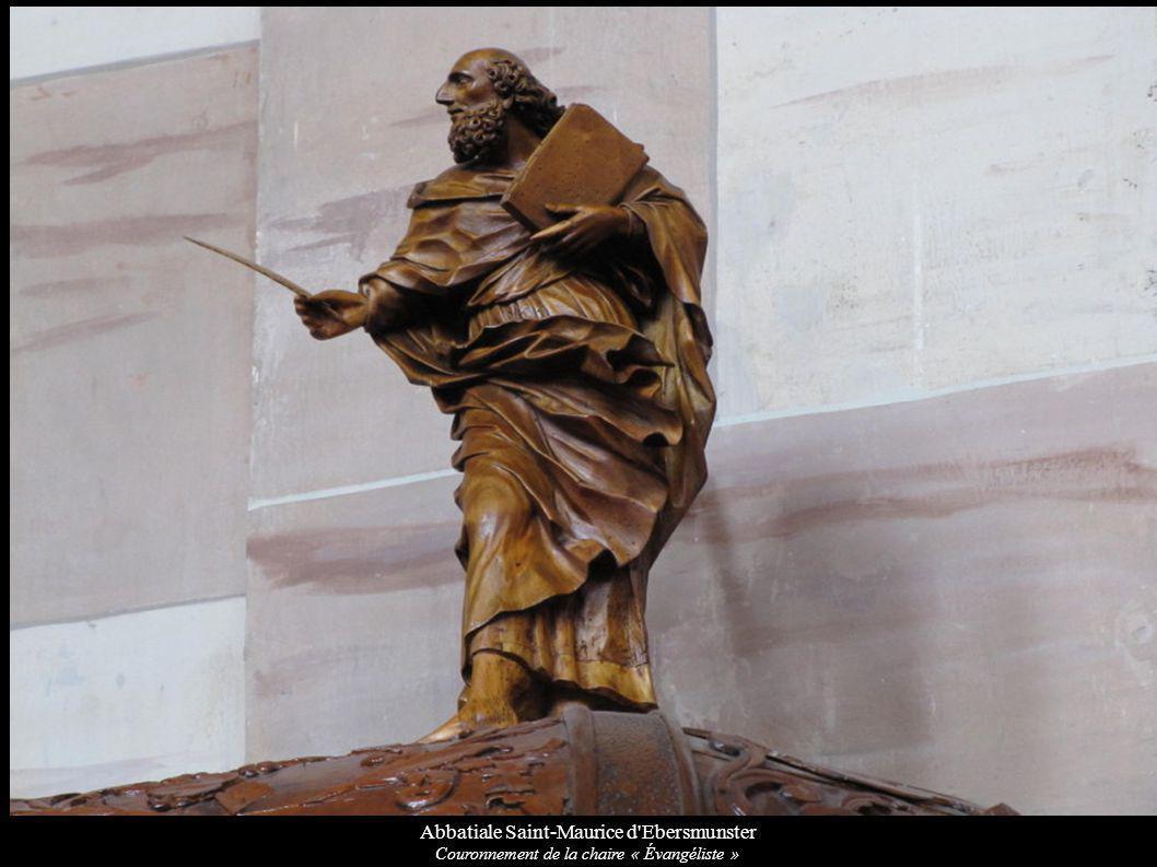 Abbatiale Saint-Maurice d Ebersmunster Couronnement de la chaire « Évangéliste »