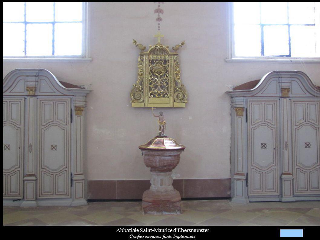 Abbatiale Saint-Maurice d'Ebersmunster Confessionnaux, fonts baptismaux