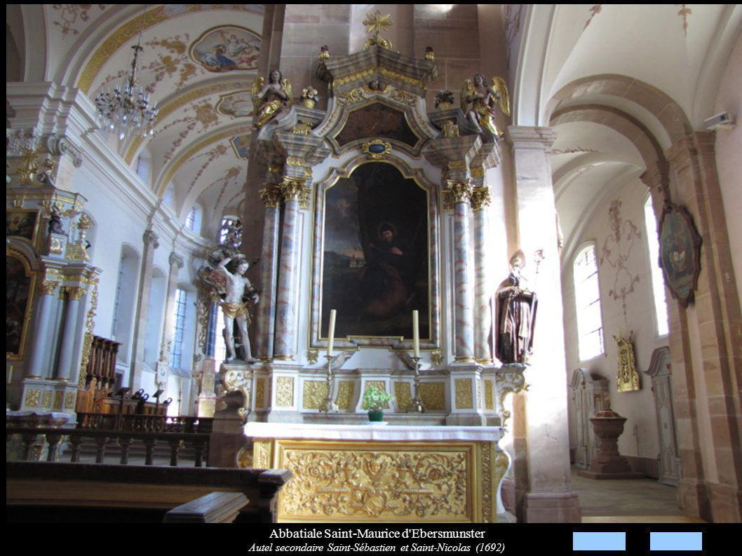 Abbatiale Saint-Maurice d Ebersmunster Autel secondaire Saint-Sébastien et Saint-Nicolas (1692)