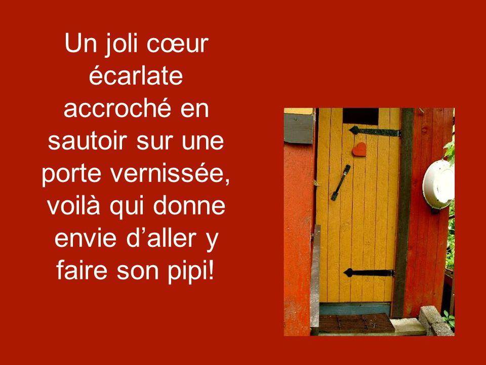 Un joli cœur écarlate accroché en sautoir sur une porte vernissée, voilà qui donne envie daller y faire son pipi!