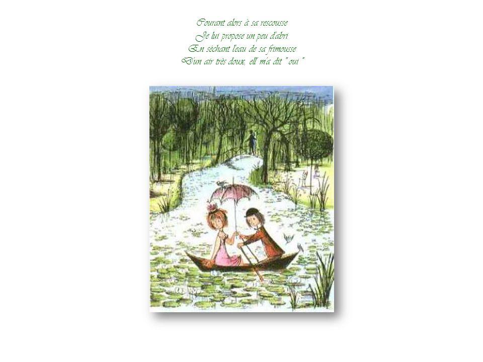 Il pleuvait fort sur la grand-route Ell' cheminait sans parapluie J'en avais un, volé, sans doute Le matin même à un ami