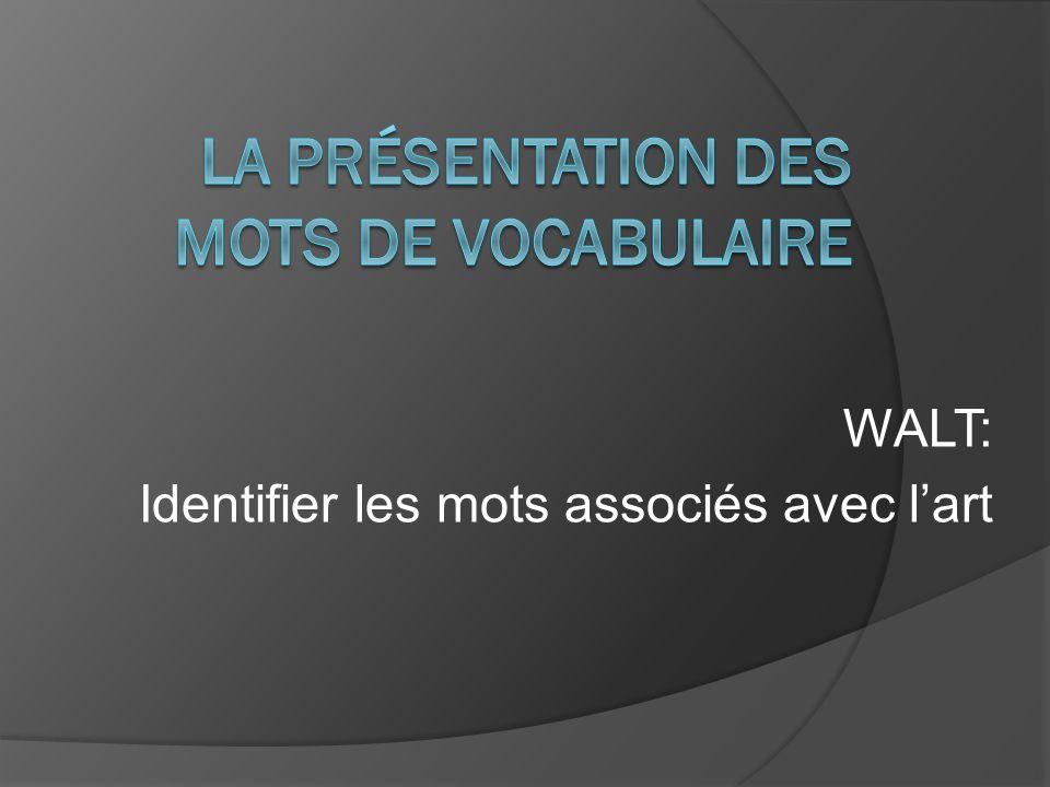 WALT: Identifier les mots associés avec lart