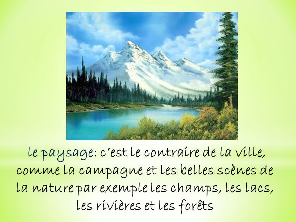 le paysage: cest le contraire de la ville, comme la campagne et les belles scènes de la nature par exemple les champs, les lacs, les rivières et les f