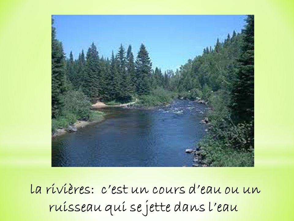 la rivières: cest un cours deau ou un ruisseau qui se jette dans leau