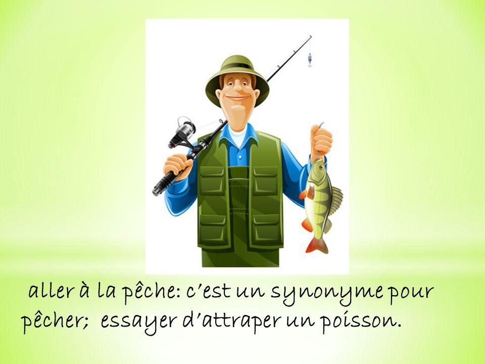 aller à la pêche: cest un synonyme pour pêcher; essayer dattraper un poisson.