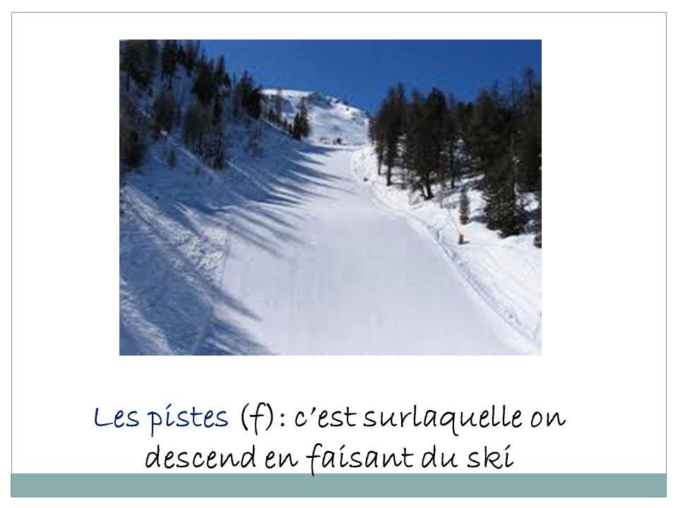 Les pistes (f): cest surlaquelle on descend en faisant du ski