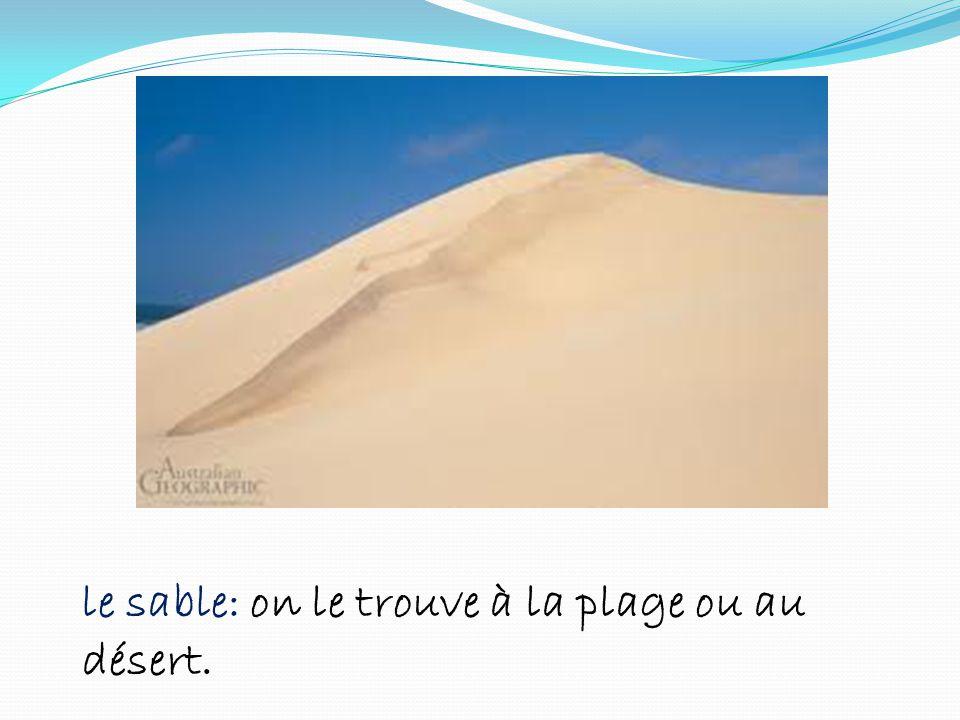 le sable: on le trouve à la plage ou au désert.