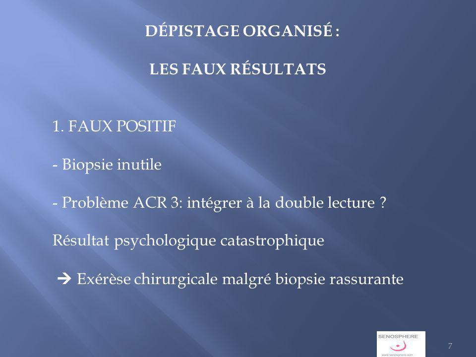 DÉPISTAGE ORGANISÉ : LES FAUX RÉSULTATS 1.