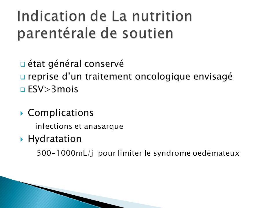 état général conservé reprise dun traitement oncologique envisagé ESV>3mois Complications infections et anasarque Hydratation 500-1000mL/j pour limite