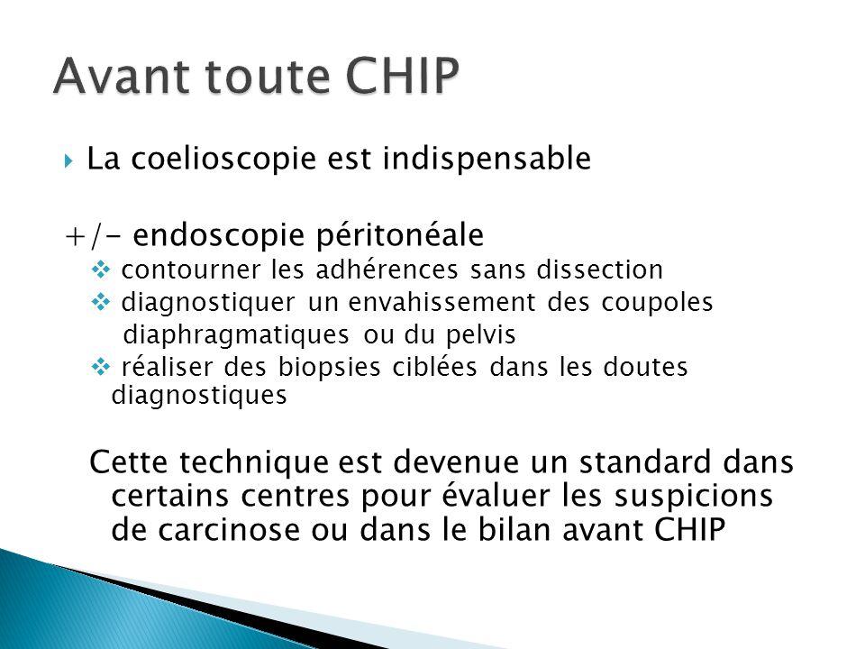 La coelioscopie est indispensable +/- endoscopie péritonéale contourner les adhérences sans dissection diagnostiquer un envahissement des coupoles dia