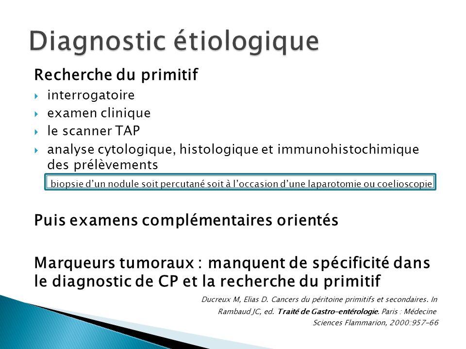 Recherche du primitif interrogatoire examen clinique le scanner TAP analyse cytologique, histologique et immunohistochimique des prélèvements biopsie