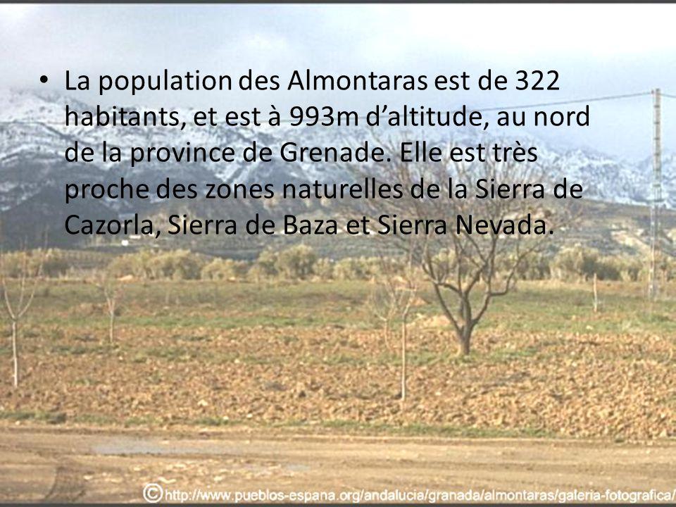 La population des Almontaras est de 322 habitants, et est à 993m daltitude, au nord de la province de Grenade. Elle est très proche des zones naturell