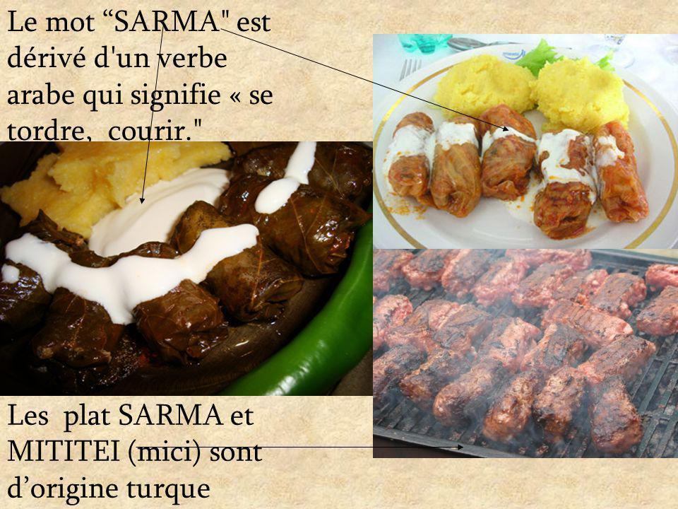 Le mot SARMA est dérivé d un verbe arabe qui signifie « se tordre, courir. Les plat SARMA et MITITEI (mici) sont dorigine turque