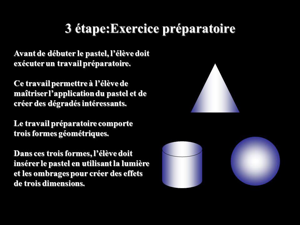 3 étape:Exercice préparatoire Avant de débuter le pastel, lélève doit exécuter un travail préparatoire. Ce travail permettre à lélève de maîtriser lap