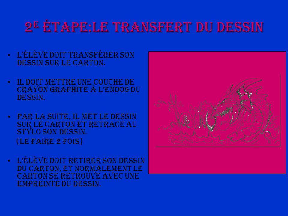 2 e étape:Le transfert du dessin Lélève doit transférer son dessin sur le carton.
