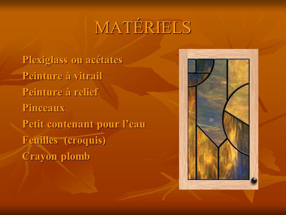 MATÉRIELS Plexiglass ou acétates Peinture à vitrail Peinture à relief Pinceaux Petit contenant pour leau Feuilles (croquis) Crayon plomb
