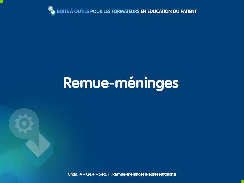 Remue-méninges Chap. 4 – Q4.4 – Séq. 1 : Remue-méninges (Représentations)