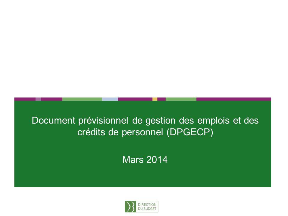 1 Document prévisionnel de gestion des emplois et des crédits de personnel (DPGECP) Mars 2014