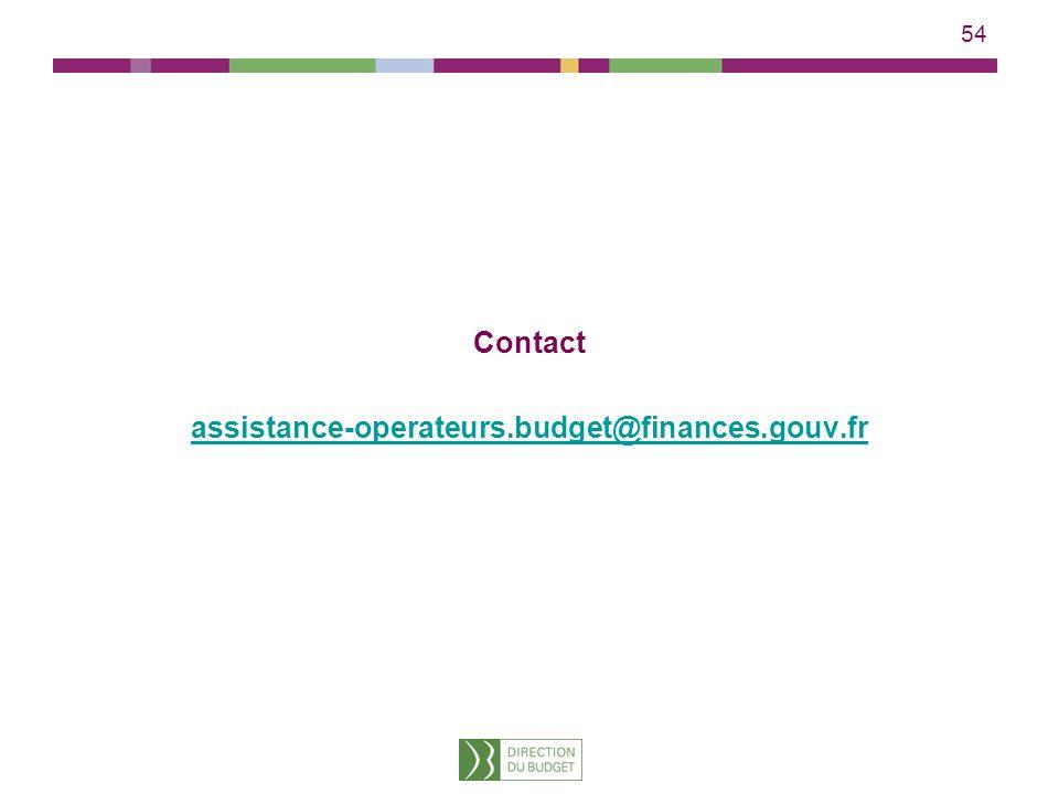 54 Contact assistance-operateurs.budget@finances.gouv.frssistance-operateurs.budget@finances.gouv.fr