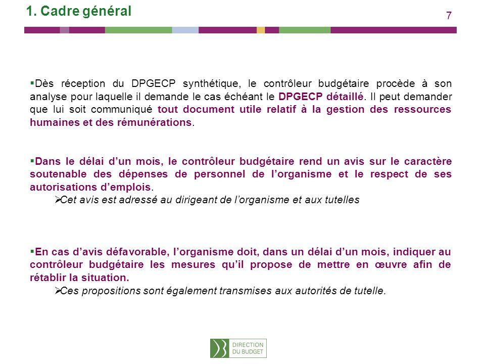7 1. Cadre général Dès réception du DPGECP synthétique, le contrôleur budgétaire procède à son analyse pour laquelle il demande le cas échéant le DPGE