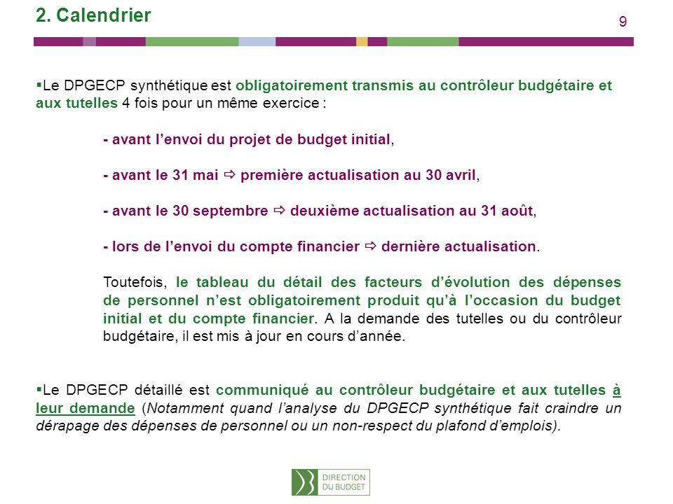 9 2. Calendrier Le DPGECP synthétique est obligatoirement transmis au contrôleur budgétaire et aux tutelles 4 fois pour un même exercice : - avant len