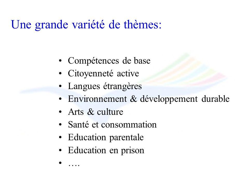 Une grande variété de thèmes: Compétences de base Citoyenneté active Langues étrangères Environnement & développement durable Arts & culture Santé et consommation Education parentale Education en prison ….