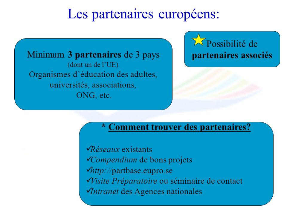Minimum 3 partenaires de 3 pays (dont un de lUE) Organismes déducation des adultes, universités, associations, ONG, etc. * Comment trouver des partena