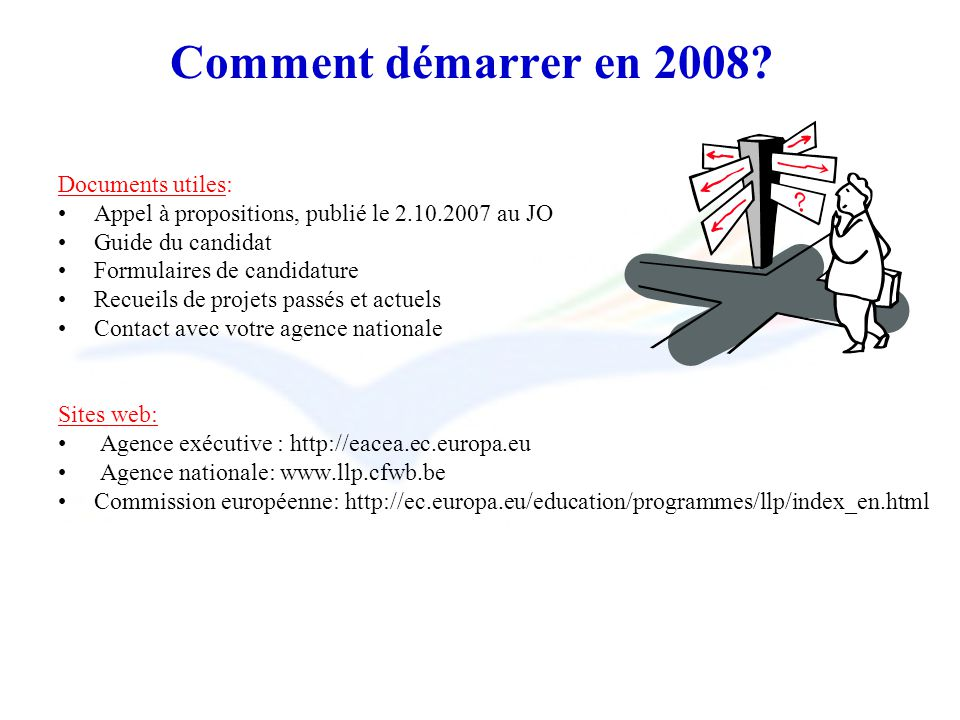 Comment démarrer en 2008? Documents utiles: Appel à propositions, publié le 2.10.2007 au JO Guide du candidat Formulaires de candidature Recueils de p