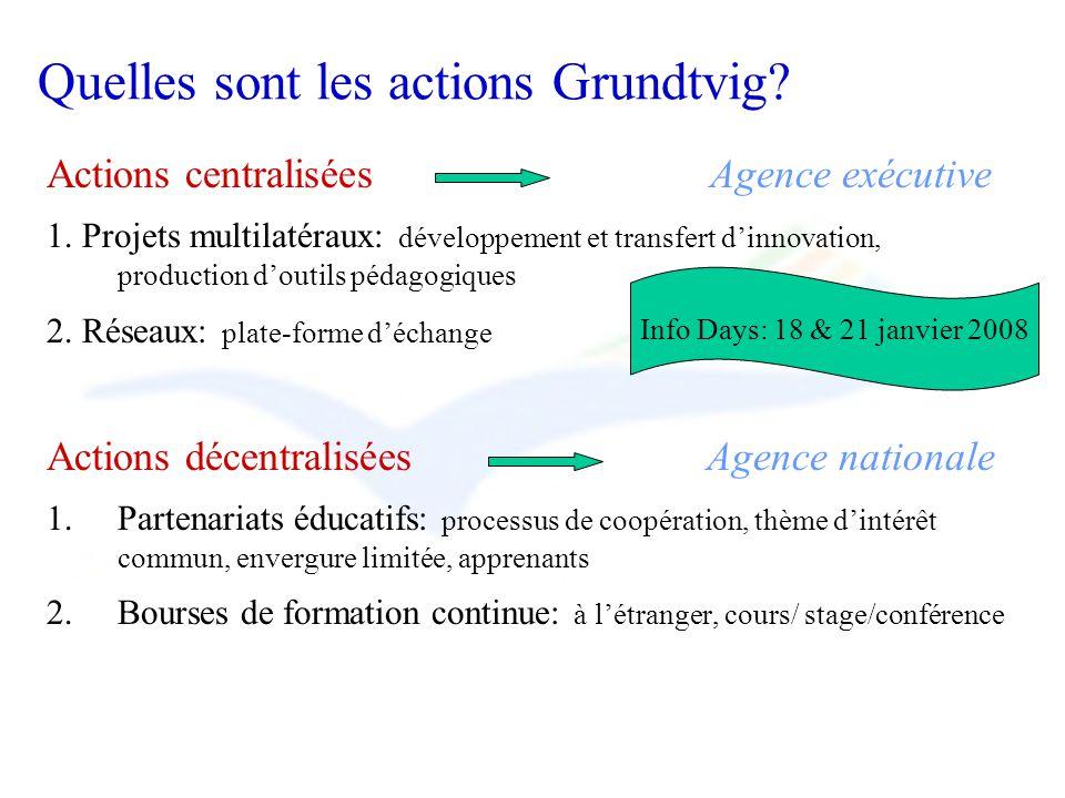 Quelles sont les actions Grundtvig? Actions centralisées Agence exécutive 1. Projets multilatéraux: développement et transfert dinnovation, production