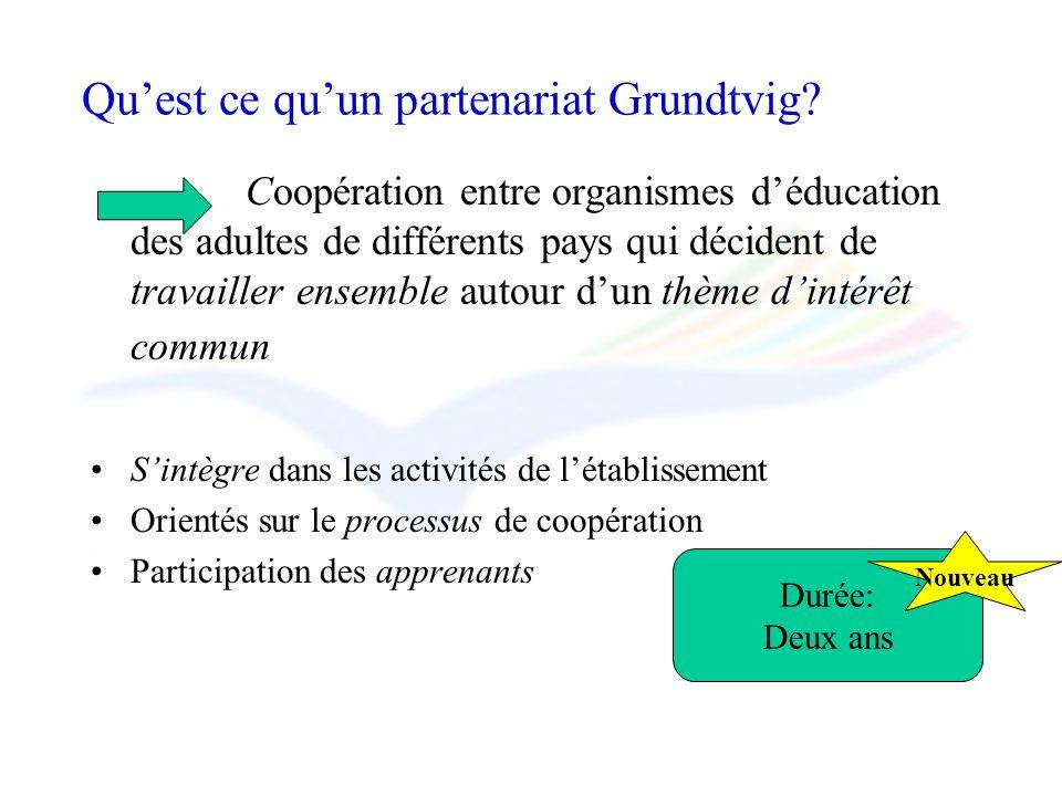 Quest ce quun partenariat Grundtvig? Coopération entre organismes déducation des adultes de différents pays qui décident de travailler ensemble autour