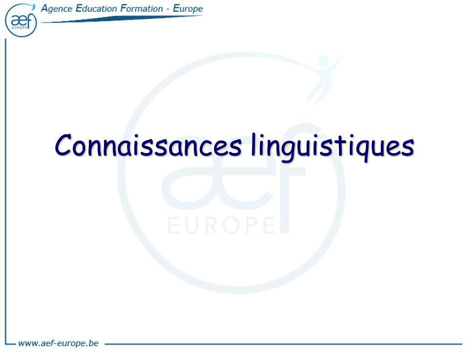 Connaissances linguistiques