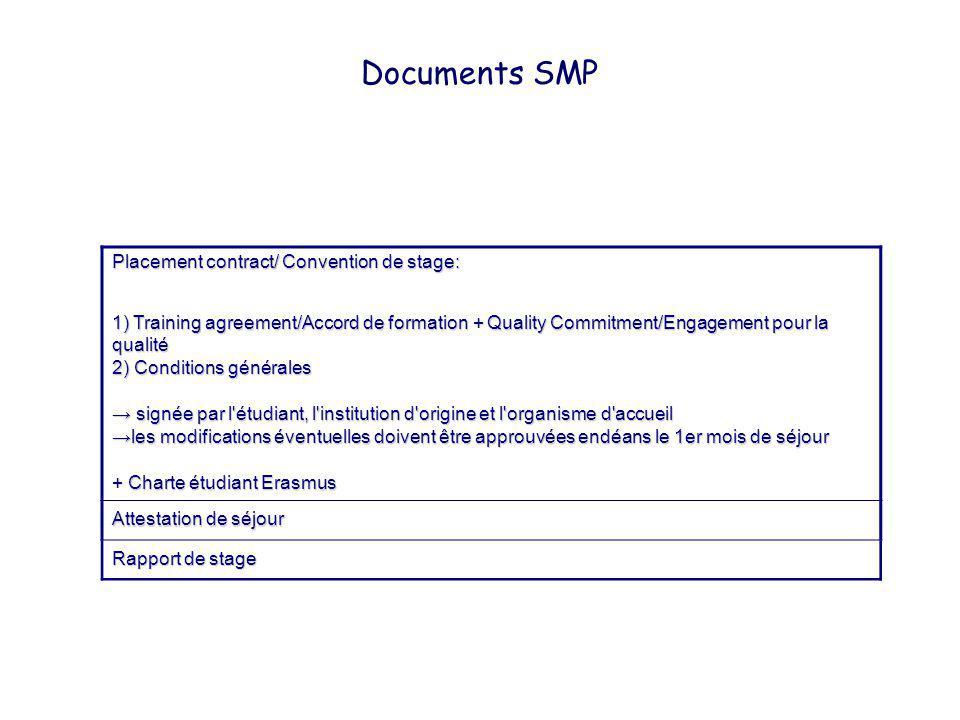 Documents SMP Placement contract/ Convention de stage: 1) Training agreement/Accord de formation + Quality Commitment/Engagement pour la qualité 2) Co
