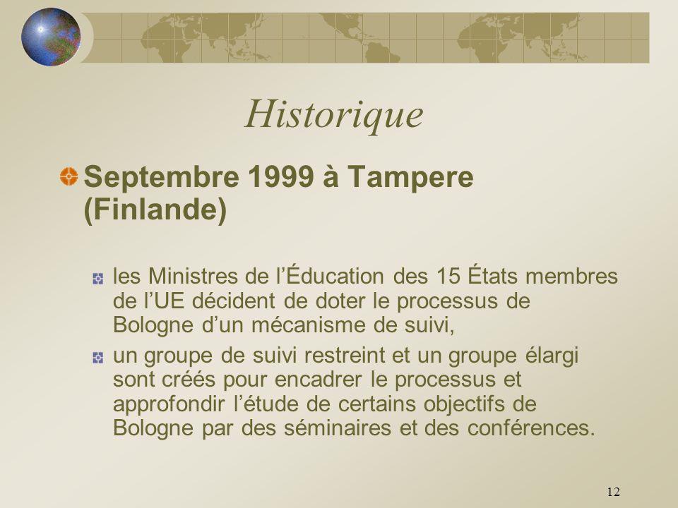 12 Historique Septembre 1999 à Tampere (Finlande) les Ministres de lÉducation des 15 États membres de lUE décident de doter le processus de Bologne du