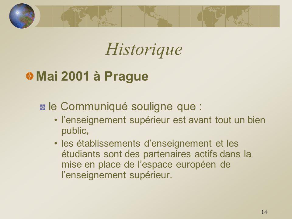 14 Historique Mai 2001 à Prague le Communiqué souligne que : lenseignement supérieur est avant tout un bien public, les établissements denseignement e