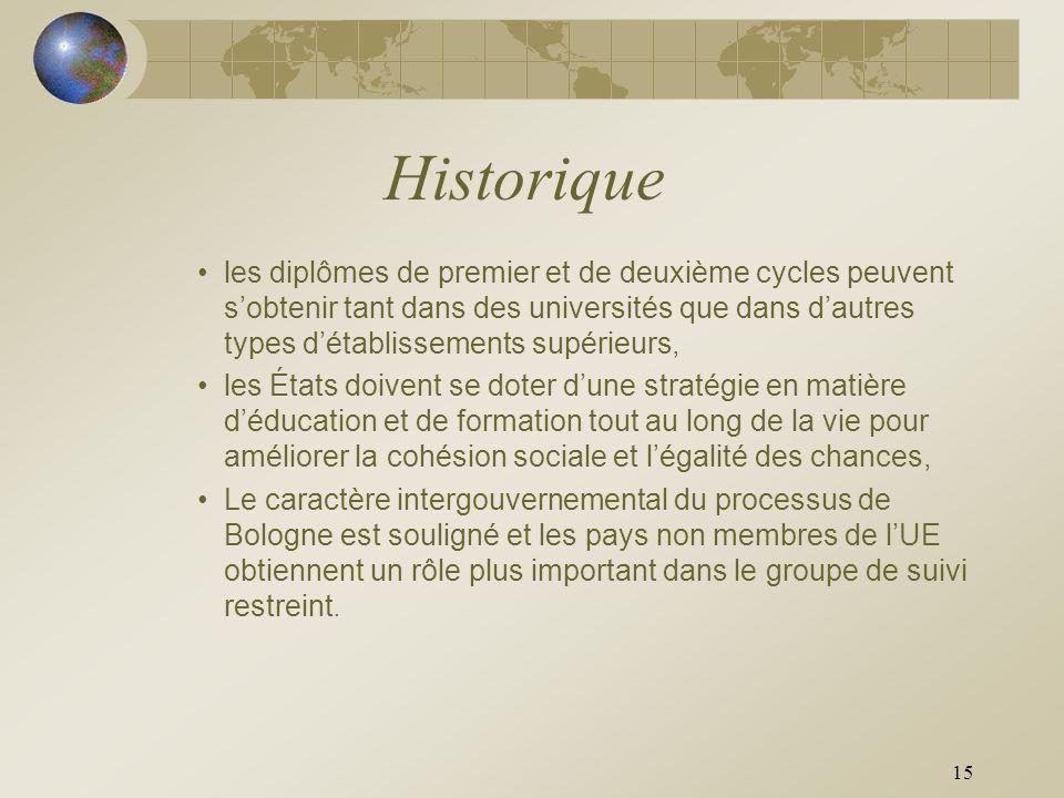 15 Historique les diplômes de premier et de deuxième cycles peuvent sobtenir tant dans des universités que dans dautres types détablissements supérieu