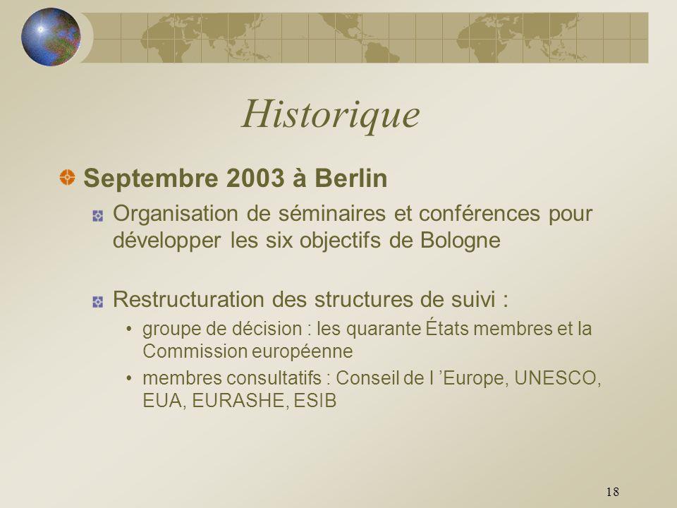 18 Historique Septembre 2003 à Berlin Organisation de séminaires et conférences pour développer les six objectifs de Bologne Restructuration des struc