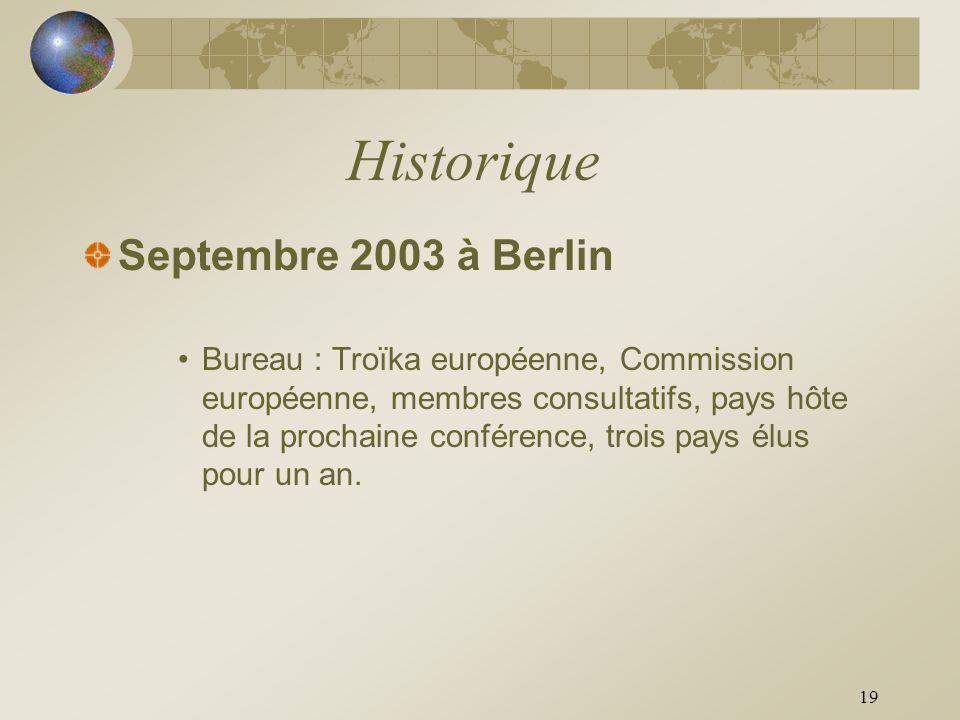19 Historique Septembre 2003 à Berlin Bureau : Troïka européenne, Commission européenne, membres consultatifs, pays hôte de la prochaine conférence, t