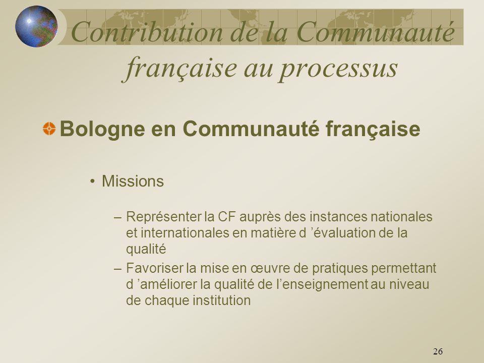 26 Contribution de la Communauté française au processus Bologne en Communauté française Missions –Représenter la CF auprès des instances nationales et