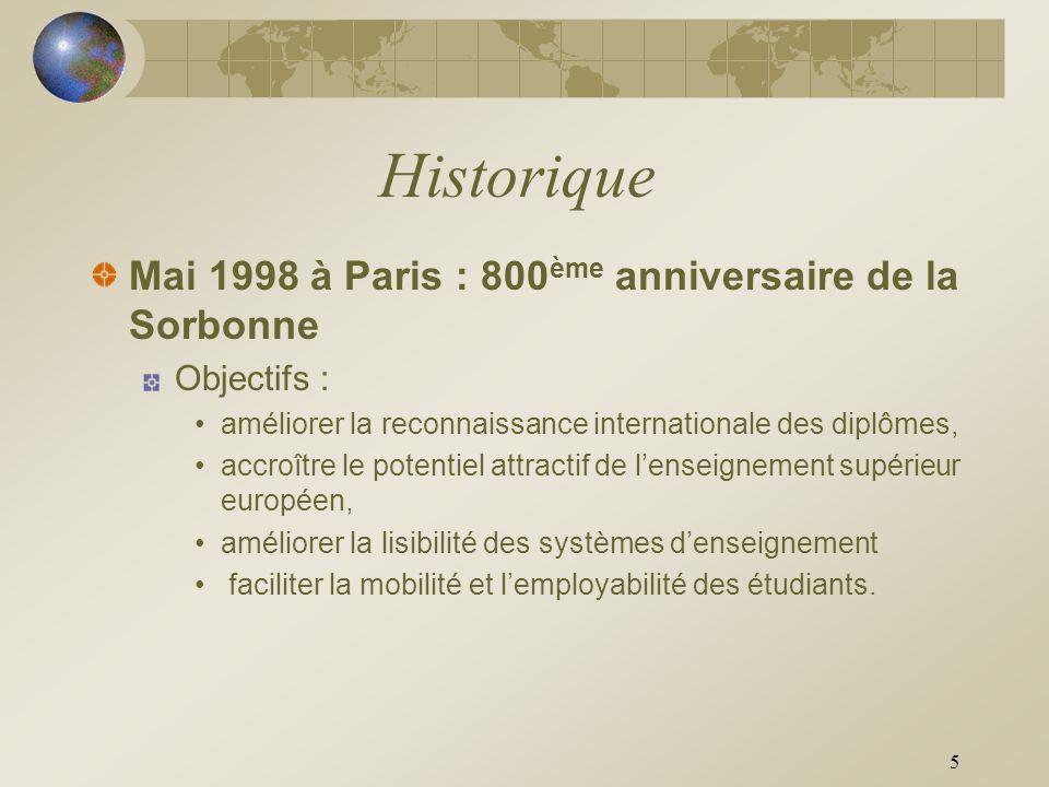 5 Historique Mai 1998 à Paris : 800 ème anniversaire de la Sorbonne Objectifs : améliorer la reconnaissance internationale des diplômes, accroître le