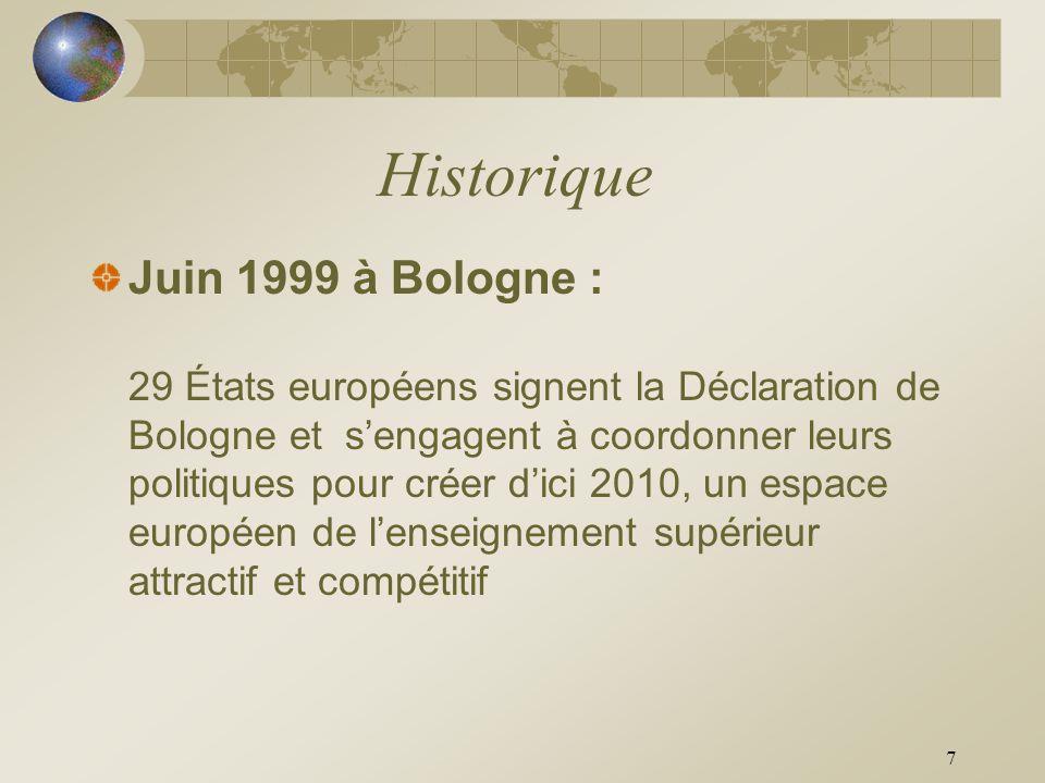 7 Historique Juin 1999 à Bologne : 29 États européens signent la Déclaration de Bologne et sengagent à coordonner leurs politiques pour créer dici 201