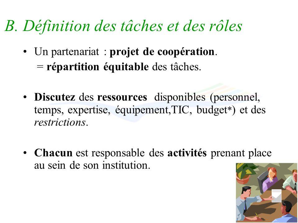 B. Définition des tâches et des rôles Un partenariat : projet de coopération.