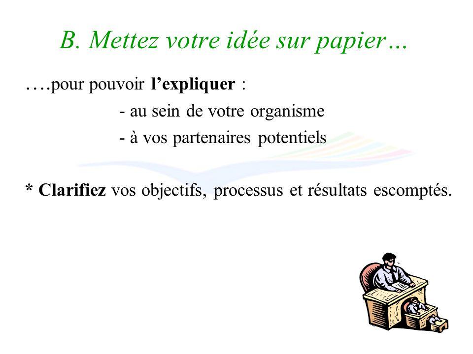 B. Mettez votre idée sur papier… ….