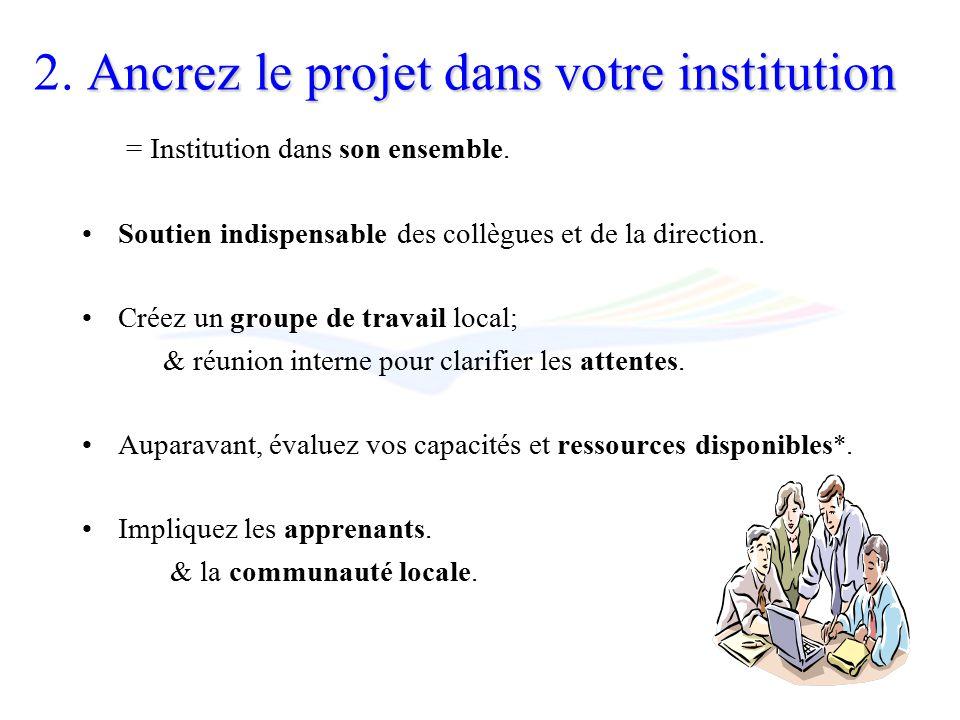 Ancrez le projet dans votre institution 2.