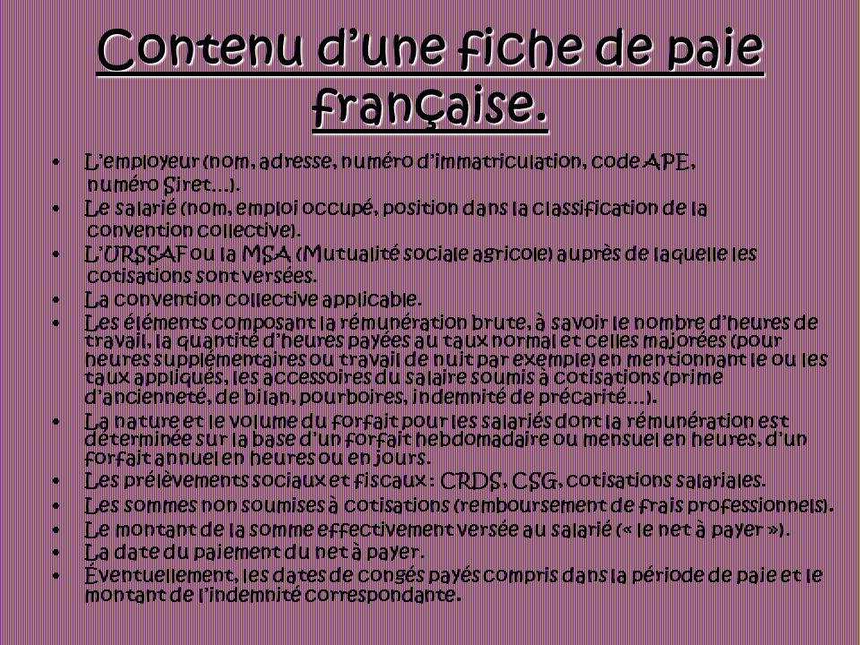 Contenu dune fiche de paie française. Lemployeur (nom, adresse, numéro dimmatriculation, code APE, numéro Siret…). Le salarié (nom, emploi occupé, pos