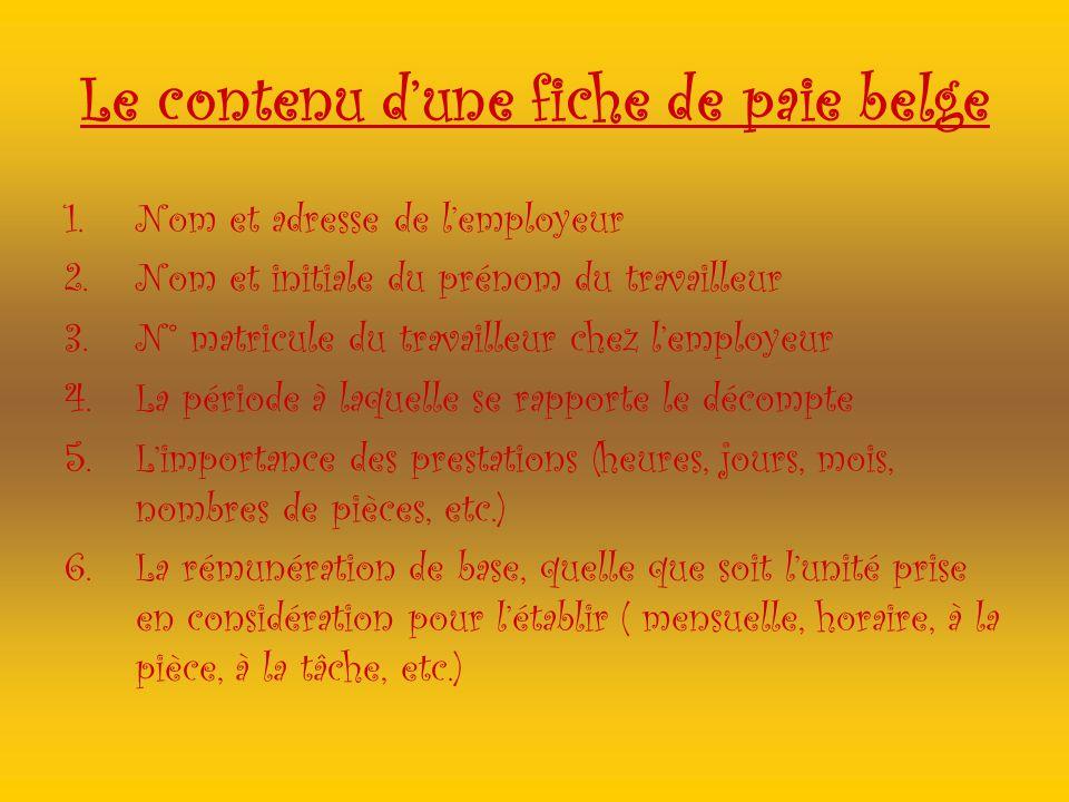 Le contenu dune fiche de paie belge 1.Nom et adresse de lemployeur 2.Nom et initiale du prénom du travailleur 3.N° matricule du travailleur chez lempl