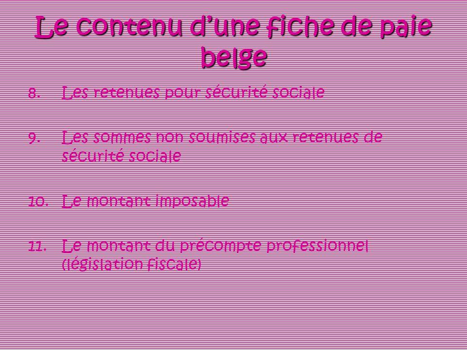 Le contenu dune fiche de paie belge 8.Les retenues pour sécurité sociale 9.Les sommes non soumises aux retenues de sécurité sociale 10.Le montant impo