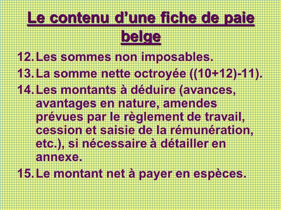Le contenu dune fiche de paie belge 12.Les sommes non imposables. 13.La somme nette octroyée ((10+12)-11). 14.Les montants à déduire (avances, avantag